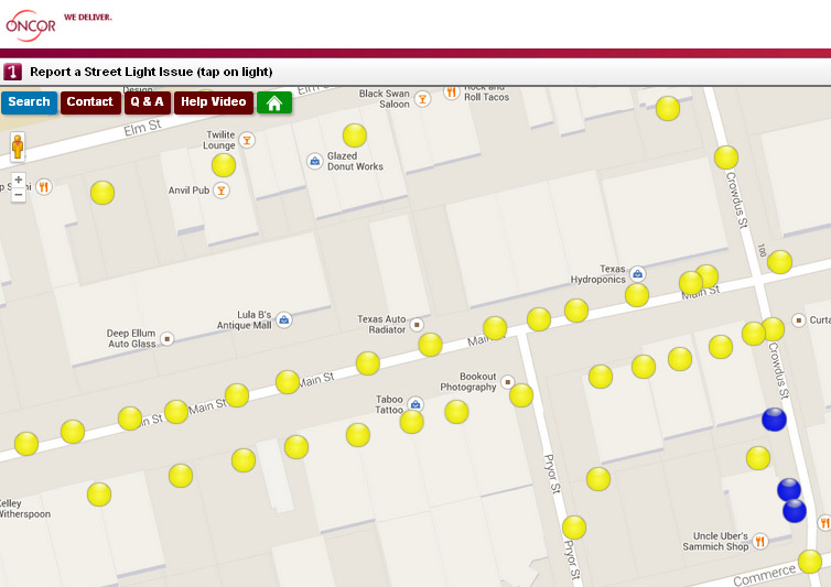 Oncor Street Light Map