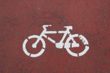 red lane for bicycle drivers (urban road)