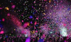 night concert with confetti