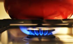 gas stove burner, red pot