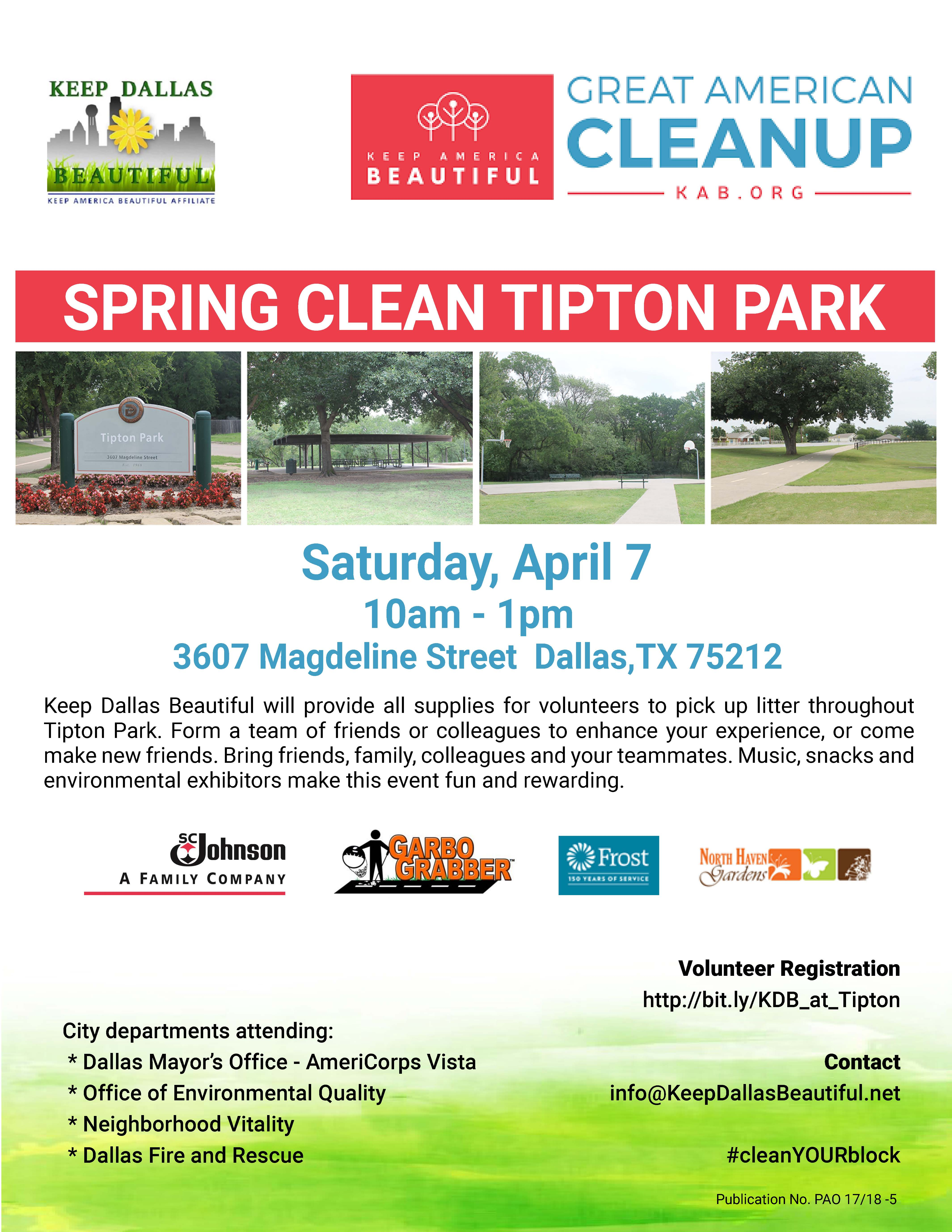 Tipton Park, litter, clean up, Dallas, park