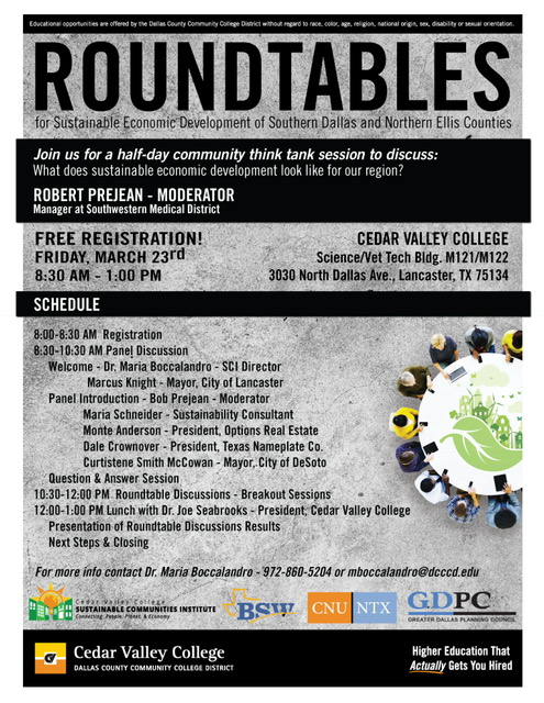 Roundtable for Sustainable Development of Southern Dallas & Northern Ellis Counties @ Cedar Valley college | Lancaster | Texas | United States