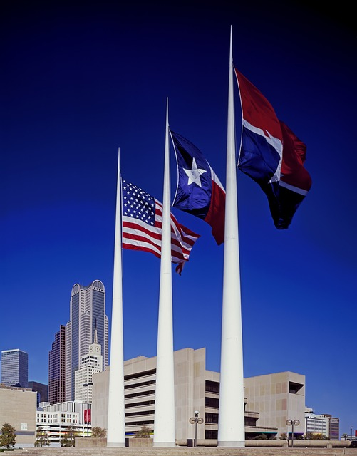 Dallas City Hall, flags, City of Dallas