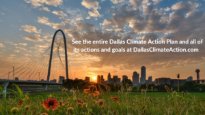 blog graphic about adopted climate plan and viewing it at dallas climate action dot com
